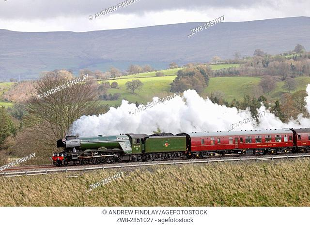 Steam train LNER A3 Class 4-6-2 no 60103 Flying Scotsman. Lazonby, Eden Valley, Cumbria, Settle to Carlisle Railway Line, England, United Kingdom, Europe