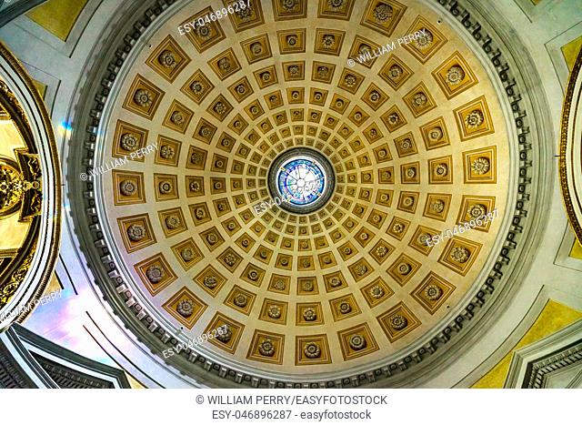 Dome Basilica Saint Mary Angels and Martyrs Rome Italy. Church designed by Michelangelo 1560 from Emperor Diocletian Baths