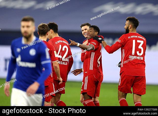 goaljubel David ALABA (FC Bayern Munich) after goal to 0-4 with Lucas HERNANDEZ (FC Bayern Munich), Eric Maxim Choupo-Moting (FC Bayern Munich)