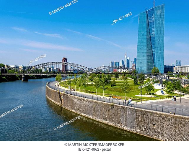 View of the new European Central Bank, ECB, with Harbour Park, skyline of Frankfurt behind, Frankfurt am Main, Hesse, Germany