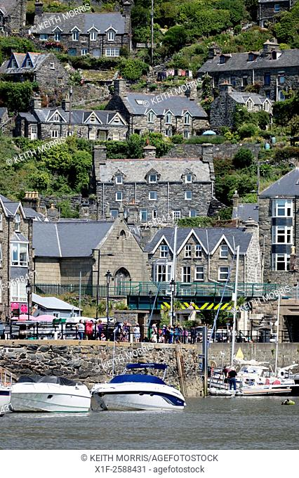 The harbourside on the river Mawddach at Barmouth, Snowdonia national Park, Gwynedd, North Wales UK