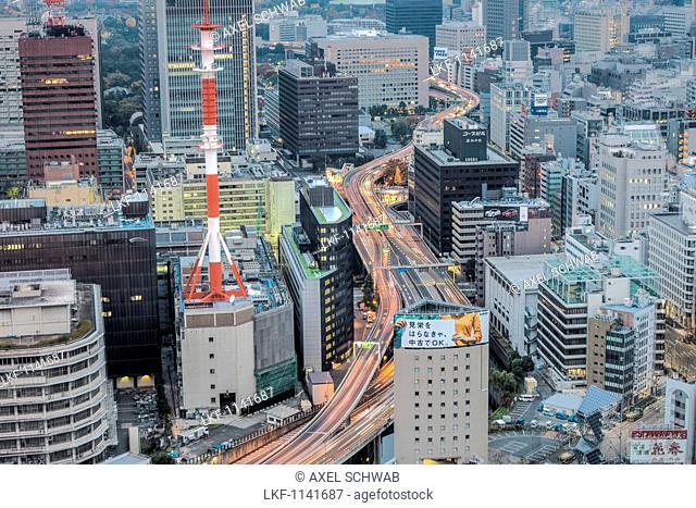 City view towards Marunouchi highway from Mandarin Oriental, Nihonbashi, Chuo-ku, Tokyo, Japan