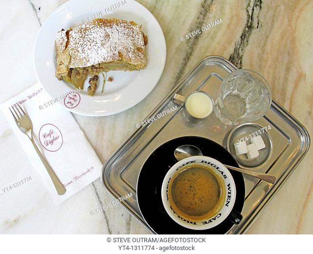 A delicious Apple Strudel, and cup of coffe at Cafe Diglas, Vienna, Austria