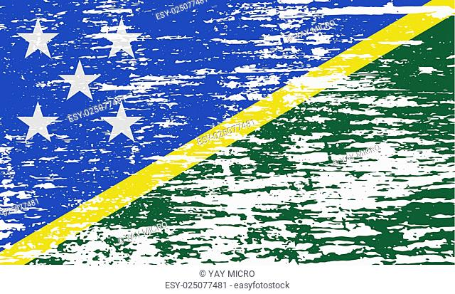 Flag of Solomon Islands with old texture
