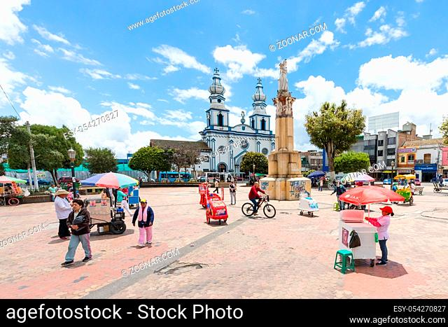 Ipiales Colombia March 2018 This is the main square of Ipiales with San Felipe Neri Church. This square is a meeting point of local people and tourists and...