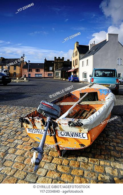Small fishing boat in the main street of Le Fret, Crozon Peninsula, Finistere, Brittany, France