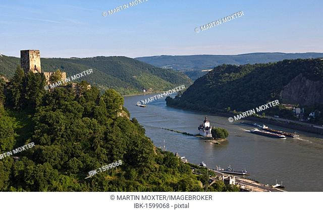 Burg Gutenfels Castle above Burg Pfalzgrafenstein Castle in Kaub am Rhein, Rhineland-Palatinate, Germany, Europe
