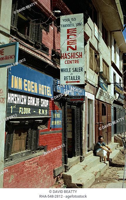 Shops selling hashish, Kathmandu, Nepal, Asia
