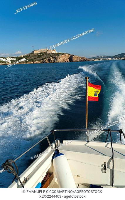 View from a Spanih flag boat of Ibiza old town and Dalt Vila, Ibiza, Balearic Islands, Spain, Mediterranean, Europe