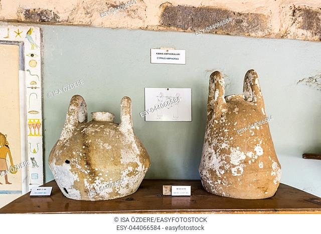 Different shape and size of amphoras in Castle of St. Peter or Bodrum Castle, Turkey