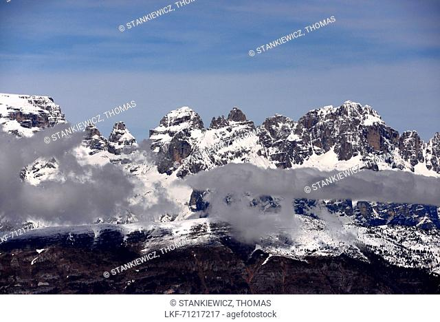 View from Monte Bondone to the Brenta mountains, Trentino, Italy