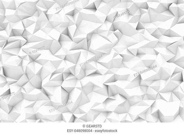 3d rendering of white polygonal triangular geometric abstract background. Geometric background. Computer graphics