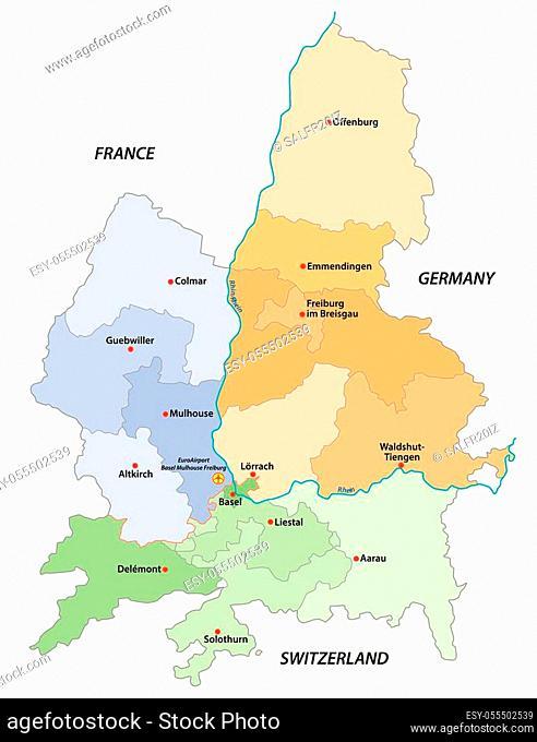 vector map of the European economic region Regiotrirhena, France, Switzerland and Germany
