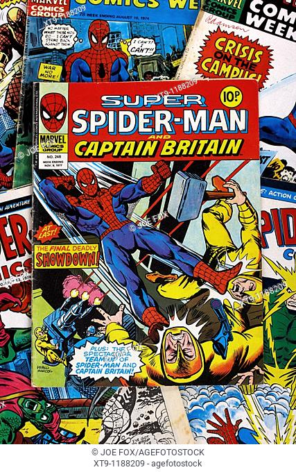 spider-man and super spiderman marvel group comic books from the 1970s in the uk