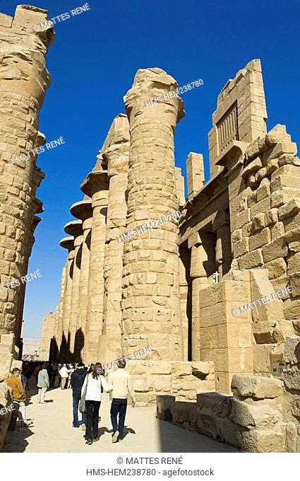 Egypt, Upper Egypt, Upper Egypt, Nile Valley, Luxor, Karnak listed as World Heritage by UNESCO, temple dedicated to Amon God, hypostyle room