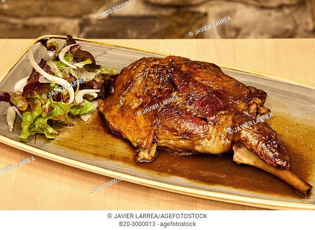 Roast Leg of Lamb, Bar Restaurante Portaletas, Parte Vieja, Old Town, Donostia, San Sebastian, Gipuzkoa, Basque Country, Spain