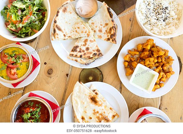 various food on table of indian restaurant