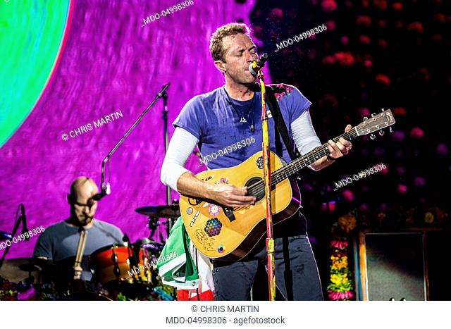 Singer Chris Martin, front man of Coldplay, in concert at San Siro Stadium during the Head Full of Dreams Tour. Milan, Italy. 3rd July 2017