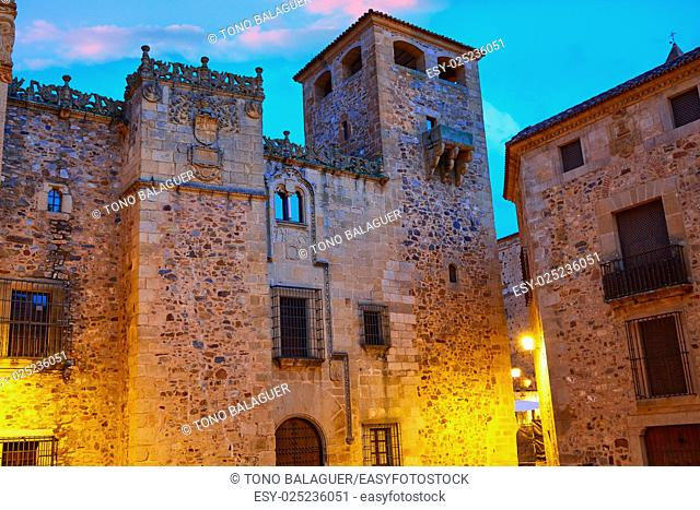 Caceres monumental city at sunset in Extremadura of spain