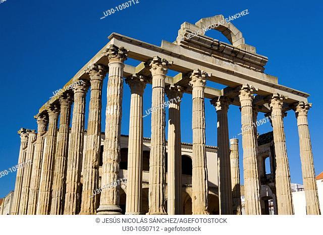 Diana Temple of Mérida, in Badajoz province  Extremadura  Spain