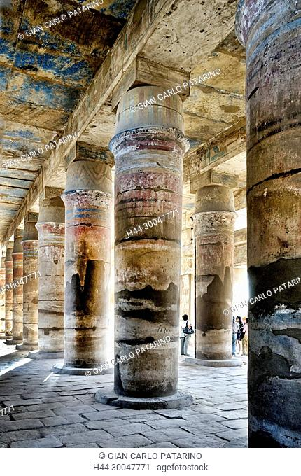 Karnak, Luxor, Egypt. Temple of Karnak sacred to god Amon: the hypostyle hall of the Akh-Menu complex