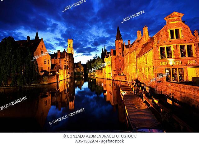 Rozenhoedkaai Quay of the rosary with Belfort tower, Bruges, Brugge, Flanders,Belgium, UNESCO World Heritage Site