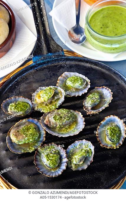 Limpets with green mojo, typical gastronomy, Lanzarote, Canary Islands, Spain