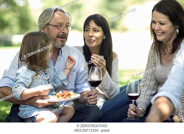 Extended family having a picnic with snacks and wine