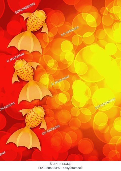 Chinese New Year Three Fancy Goldfish Illustration on Red Blurred Background