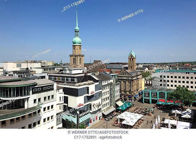 Germany, Dortmund, Ruhr area, Westphalia, North Rhine-Westphalia, NRW, city view, panoramic view, Alter Markt, old market place, Reinoldi church, Marys church