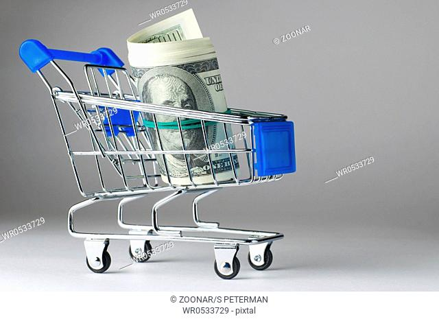 dollar notes in shopping cart