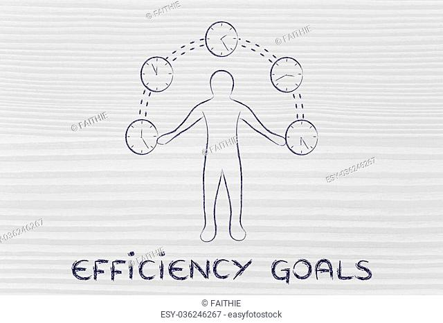 concept of efficiency goals: man juggling with time (clocks illustration)
