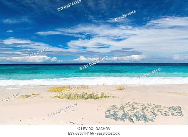 travel, seascape and nature concept - beach in indian ocean on seychelles