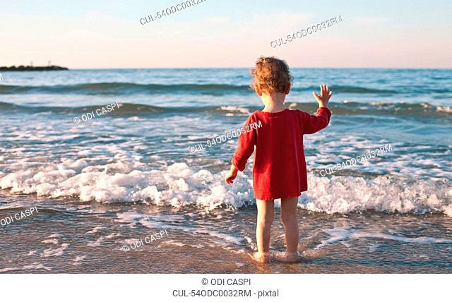 Toddler girl standing in waves on beach