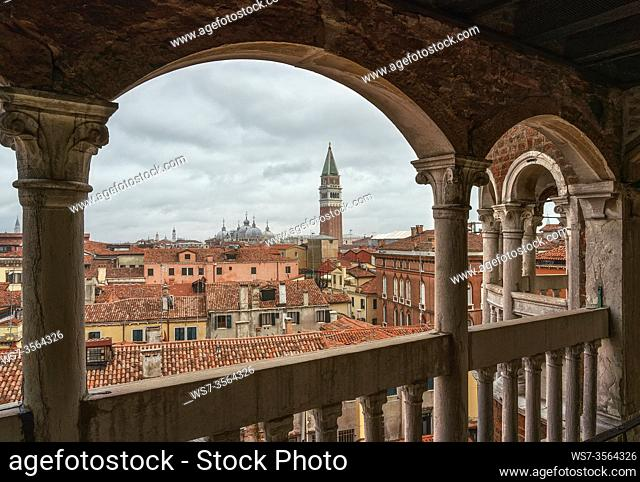View of the roofs of Venice, with the Basilica of San Marco and the Campanile, from the Scala del Bovolo