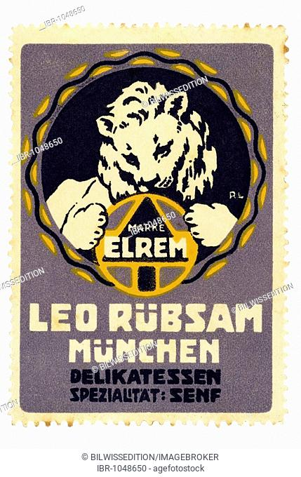 German trading stamp, Marke Elrem, Leo Ruebsam, Muenchen, Delikatessen, Spezialitaet Senf