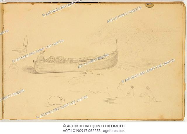 Thomas Cole, American, 1801-1848, (Untitled, fisherman in a boat), ca. 1832, graphite pencil on off-white wove paper, Sheet: 8 7/8 × 13 1/2 inches (22