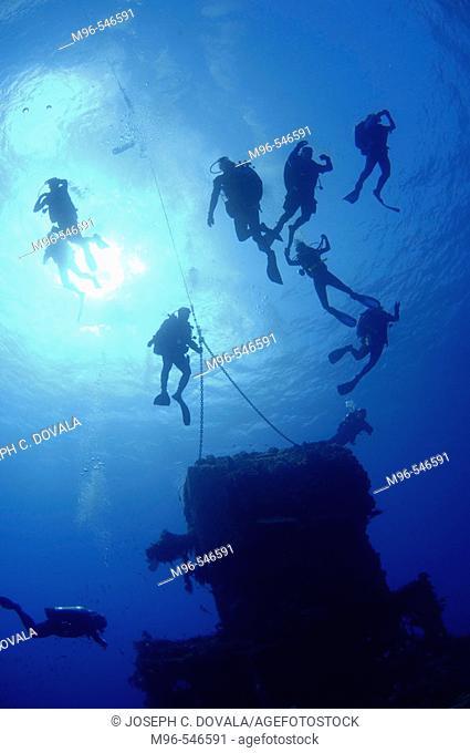 Divers at mooring line at top of USS Saratoga Bikini Atoll