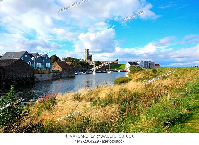 St Andrews harbour, seafront buildings and cathedral in St Andrews, Scotland, Fife, Great Britain, Europe