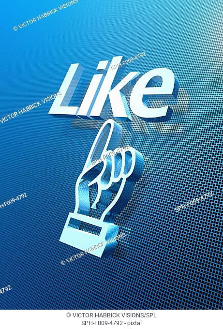 Computer artwork of the 'Like' computer icon