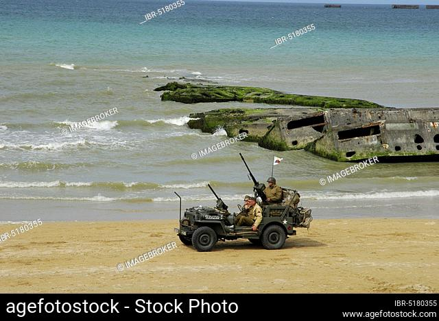 Remains of a bridge and old army jeep, Lower Normandy, D-Day, Operation Overload, 2nd, Mulberry Harbour, Allied landing June 1944, World War II