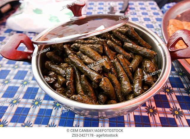 Turkish traditional Zeytinyagli Dolma, wrap stuffed with olive oil at the market in Sigacik town, Izmir Province, Aegean Coast, Turkey, Europe