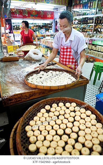 Small cookies are steamed  In Rua da Felicidade, Macau, China