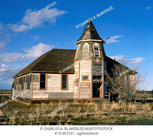 Old schoolhouse in western town of Shaniko. Wasco County. Eastern Oregon. USA