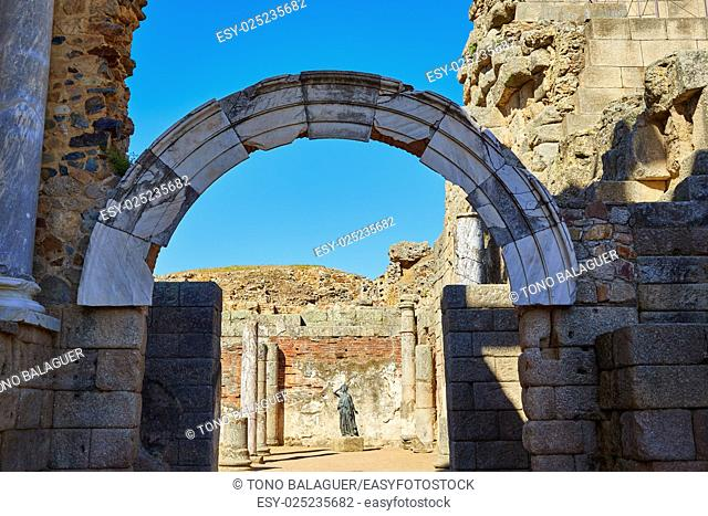Merida in Badajoz Roman amphitheater at Spain by via de la Plata way
