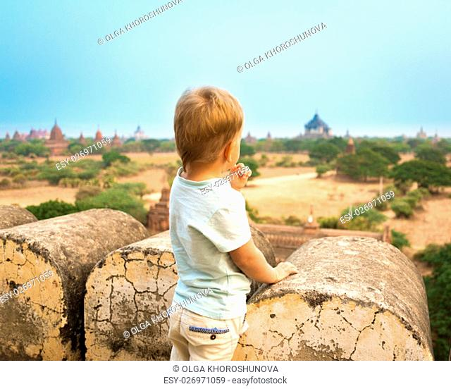 View from the Shwesandaw in Bagan. Myanmar