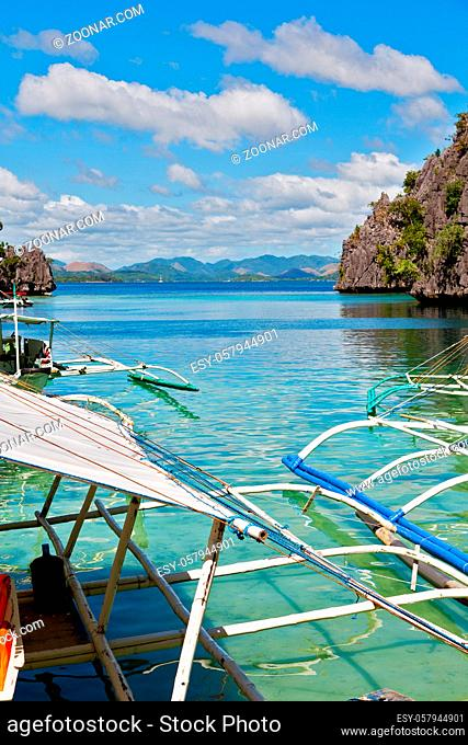 in philippines view from a cliff of the beautiful paradise bay and tropical lagoon