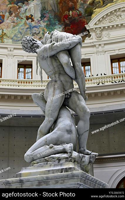 Sculpture by Swiss artist Urs Fisher which is a wax replica of the marble sculpture by Italian artist Giambologna The Rape of the Sabine women