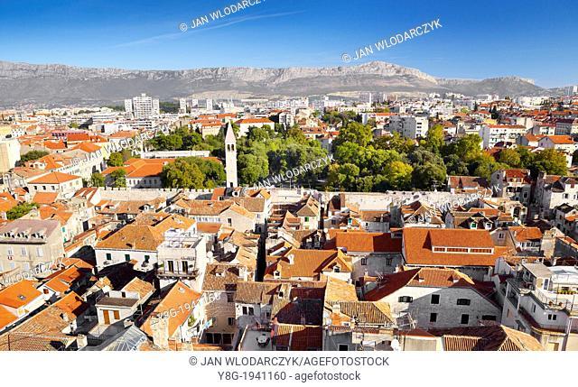 Croatia - Split, Old Town, panoramic view from the Bell Tower, Dalmatia, Croatia