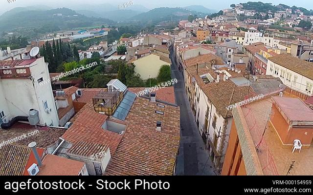 Aerial view of a small town. Caldes de Montbui, Barcelona. Spain